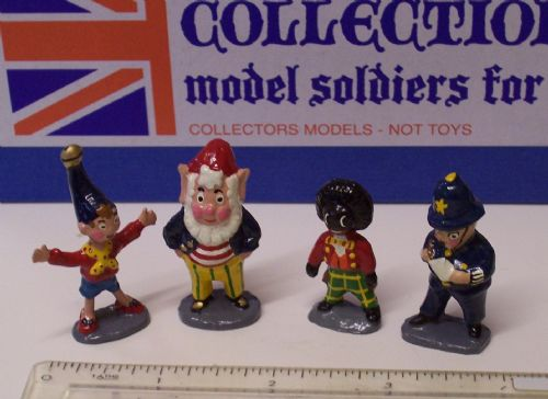 "Noddy, Big Ears, Golly and Mr Plod, each 1 3/4"" high, fully painted to a high standard in a Box"